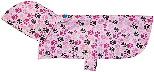 RC Pet Products Packable Dog Rain Poncho, Pitter Patter Pink, Large