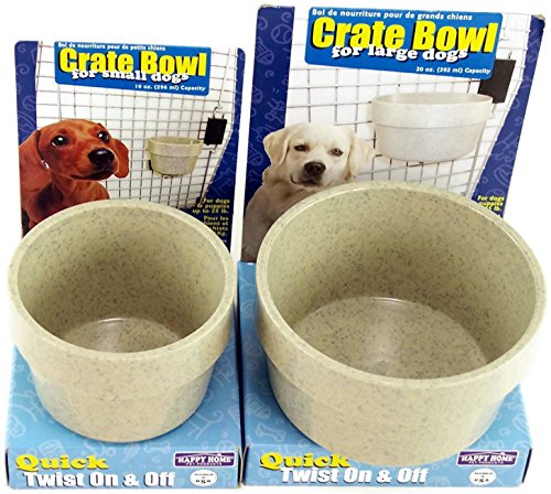 Happy Home Crate Bowl Set for Dogs and Puppies up to 75 Lbs. Bowl Size 20 Oz and for Small Dogs and Puppies up to 25 Lbs. Bowl Size 10 Oz Both Are Granite Gray Color (Bundle)