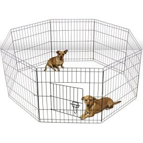 Oxgord Dog Animal Playpen Large Metal Wire Folding Exercise Yard Fence 8 Panel Popup Kennel Crate Fence Tent Portable – Black – Premium Quality – 2015 Newly Designed, 24 Inches