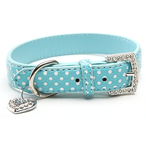 BINPET BA2028 Designer Polka Dots Leather Pet Puppy Dog Collar with Jeweled Heart Pendant Charms and Durable Metal Buckle , Blue Small