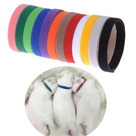 Set of 12 x Different Colors Sundlight Soft Whelping ID Velcro Collars, Adjustable & Reusable Bands for Newborn Puppies and Kitten