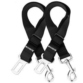 Aodoor Pet Dog Cat Car Safety Seat Belt Lead Restraint Harness Adjustable Safety Harness for Car Vechle Black 18-27.5 Inch 2 Pack