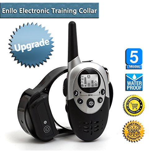 Electronic Dog Training Collar Wireless Remote Control Rechargeable Water-Resistant Anti Bark Collar with Range up to 1000M.Adjustable Shock,Vibration,Sound Stimulations,flash of light and Sleep