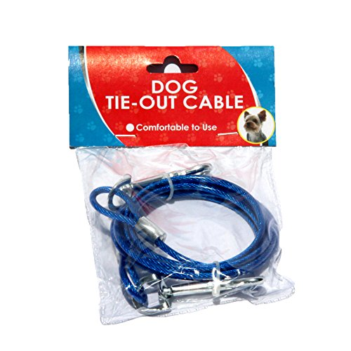 Dog Tie Out Cable/ Home Essential Dog Cable /7′ Feet Puppy Dog Tie Out Cable /Heavy Duty Tie Out (Blue)