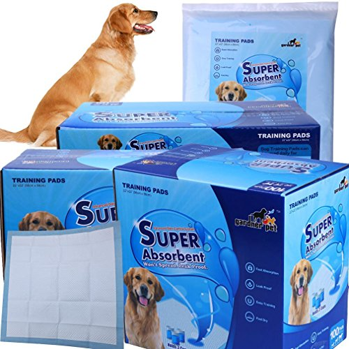 Gardner Pet THE BEST Super-Absorbent 24 by 24 Inches Dog Training Pads – 100 Count of Pads