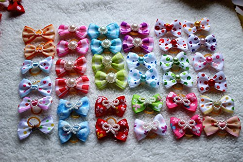 Yagopet 100pcs/lot Hot Selling Pet Dog Hair Bows Topknot Mix Pearls Rubber Bands Bows Pet Grooming Products Mix Colors Varies Colors Pet Hair Bows