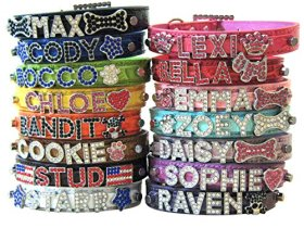 Bling Stuff For Fun TM – Crocodile PU Leather Personalized Rhinestone Bling Dog Name Collar for Large, Medium, Small Dogs and Puppies (Black, S: Neck Size 9.8″-12″)