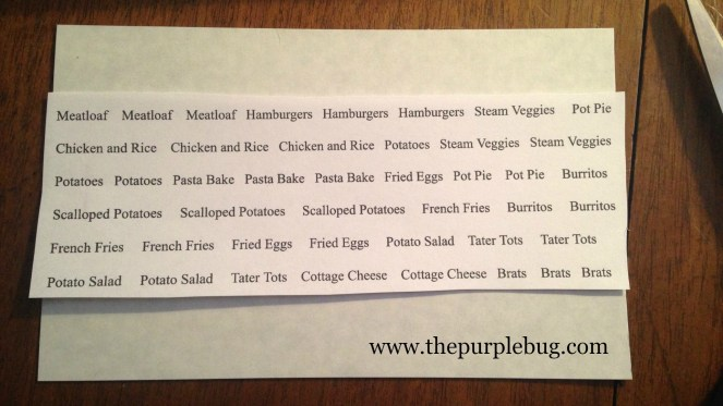 Make your own meal plan magnets.