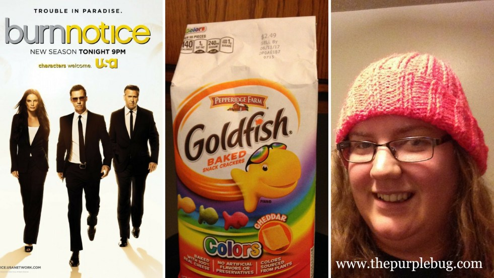 My current obsession: Burn Notice, Goldfish Crackers, and Knitting Hats