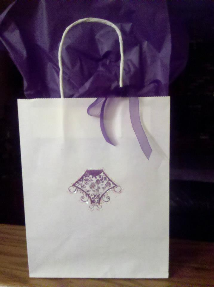 Logo gift bags with sparkle glitter