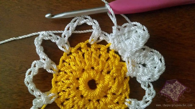 Wrap around sc to close the petal completed.  Insert hook into next ch 6 loop to start your next petal.