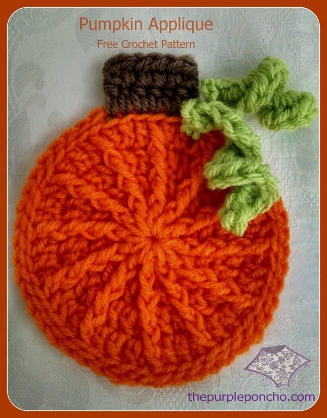Crochet Pumpkin Applique - Free Crochet Pattern - The Purple Poncho