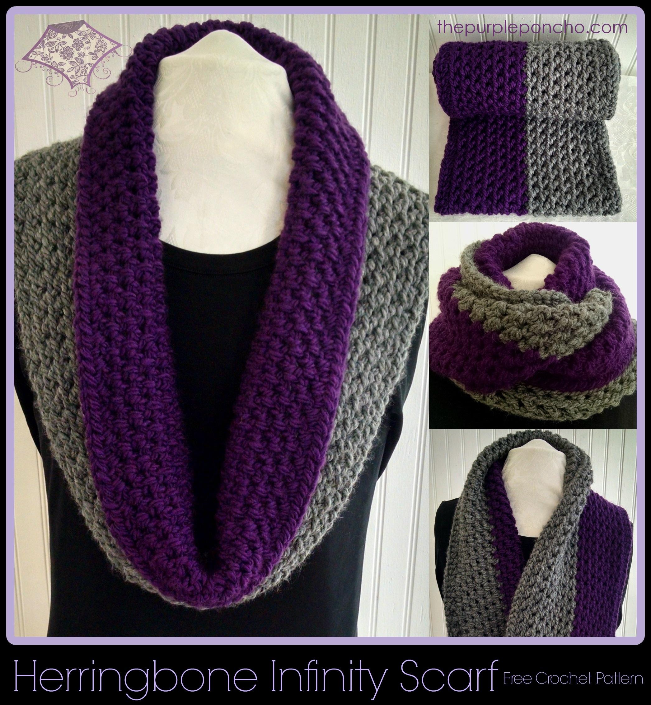 Herringbone Infinity Scarf A Free Crochet Pattern The Purple Poncho