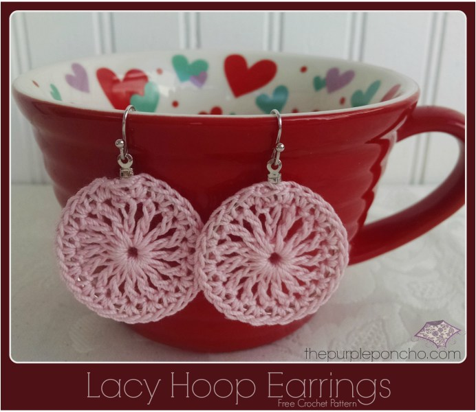 Pink Lacy Hoop Earrings A Free Crochet Pattern by The Purple Poncho