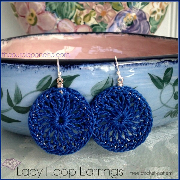 Royal Blue Lacy Hoop Earrings Free Crochet Pattern by The Purple Poncho