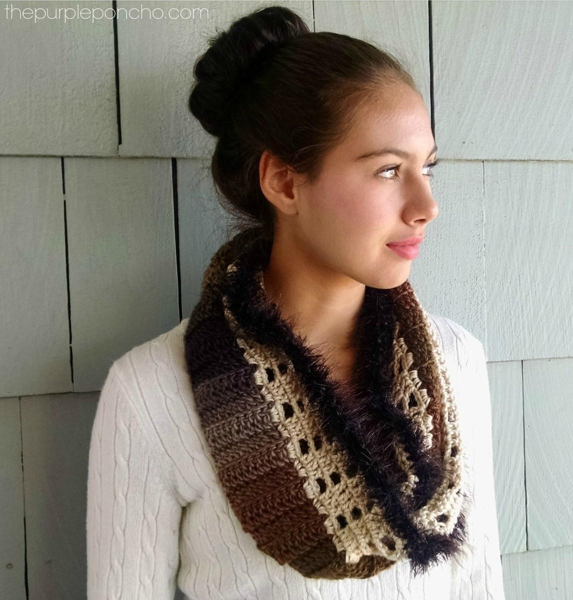 Herringbone Infinity Scarf A Free Crochet Pattern – The Purple Poncho