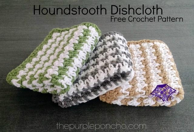 Houndstooth Dishcloth Free Crochet Pattern The Purple Poncho