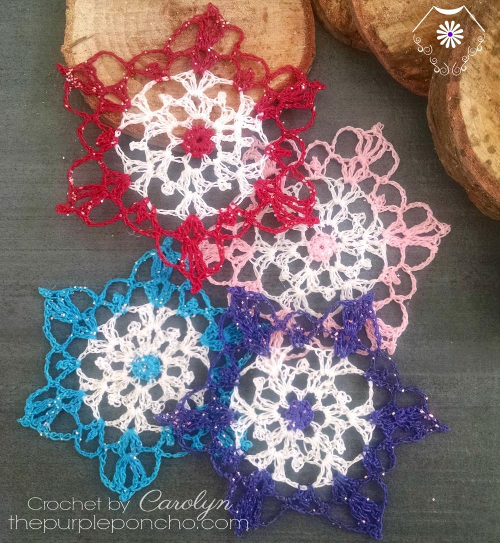 Colorful Crochet Snowflake Pattern The Purple Poncho