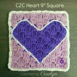 C2C Heart 9″ Square – Free Crochet Pattern