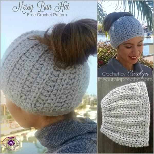 3854b37f Messy Bun Hat - Free Crochet Pattern - The Purple Poncho