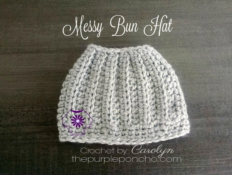 5244e24ca3a21 Messy Bun Hat - Free Crochet Pattern - The Purple Poncho