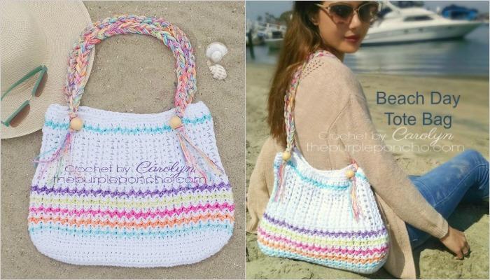 Beach Day Tote Bag – Free Crochet Pattern – The Purple Poncho