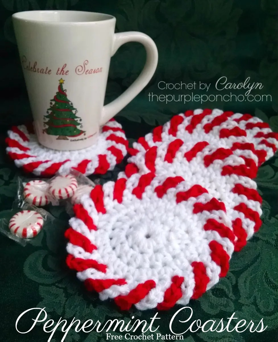 Peppermint Coasters - Free Crochet Pattern