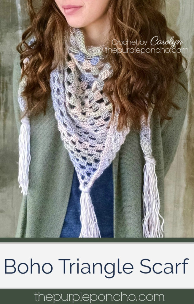 Boho Triangle Scarf Free Crochet Pattern The Purple Poncho