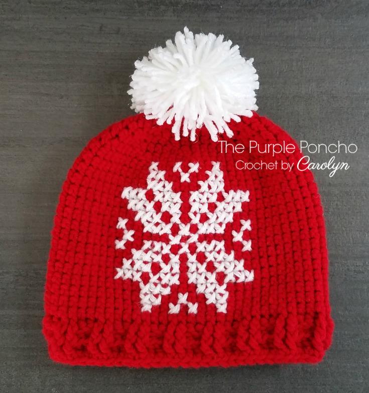 Cross Stitch Snowflake Beanie A Free Crochet Pattern – The Purple Poncho