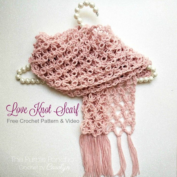 Free Crochet Pattern The Love Knot Scarf The Purple Poncho