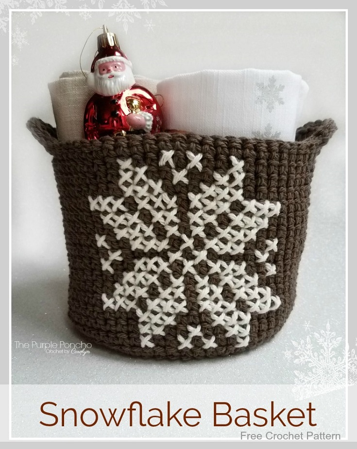 Snowflake Basket Free Crochet Pattern The Purple Poncho