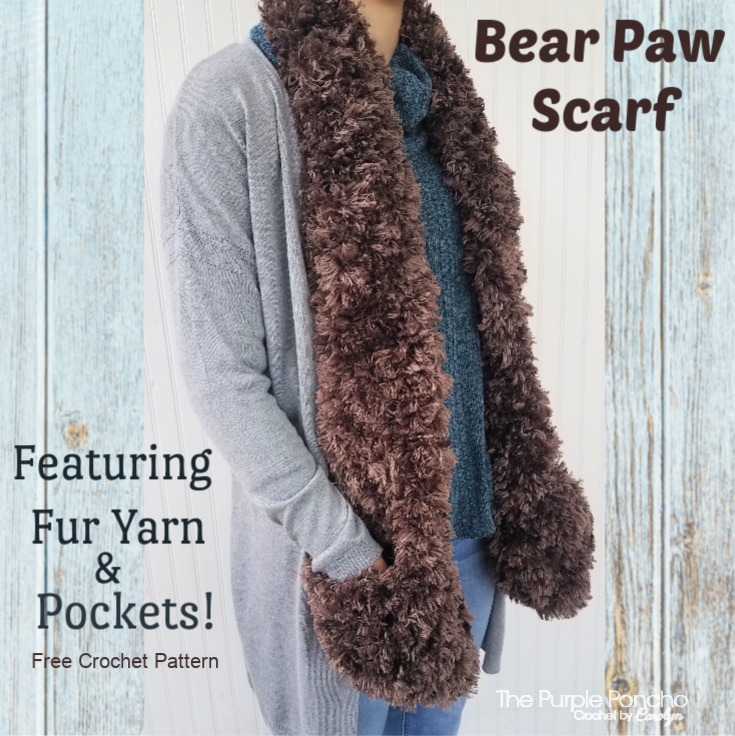 Bear Paw Pocket Scarf Free Crochet Pattern The Purple Poncho