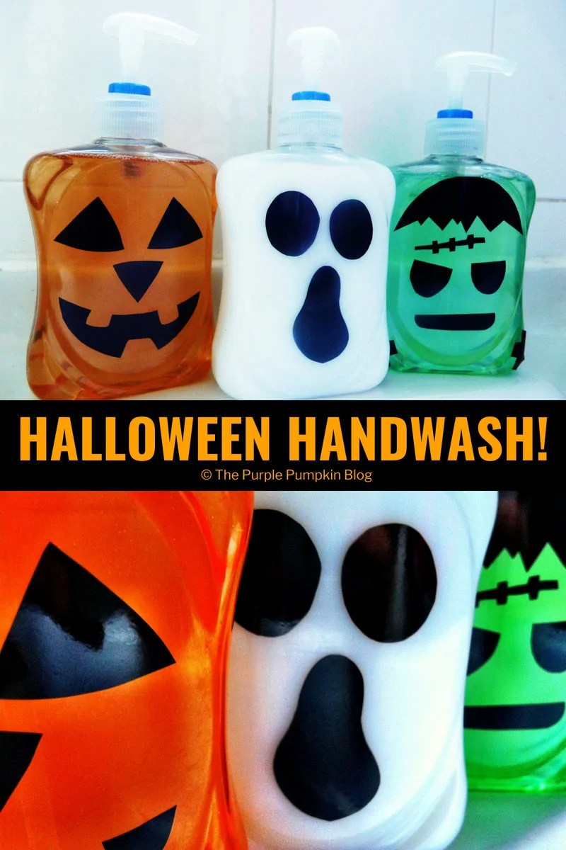 Halloween Handwash! Simply decorate Halloween coloured bottles of hand wash with spooky vinyl cut faces to give the bathroom a touch of All Hallows Eve!