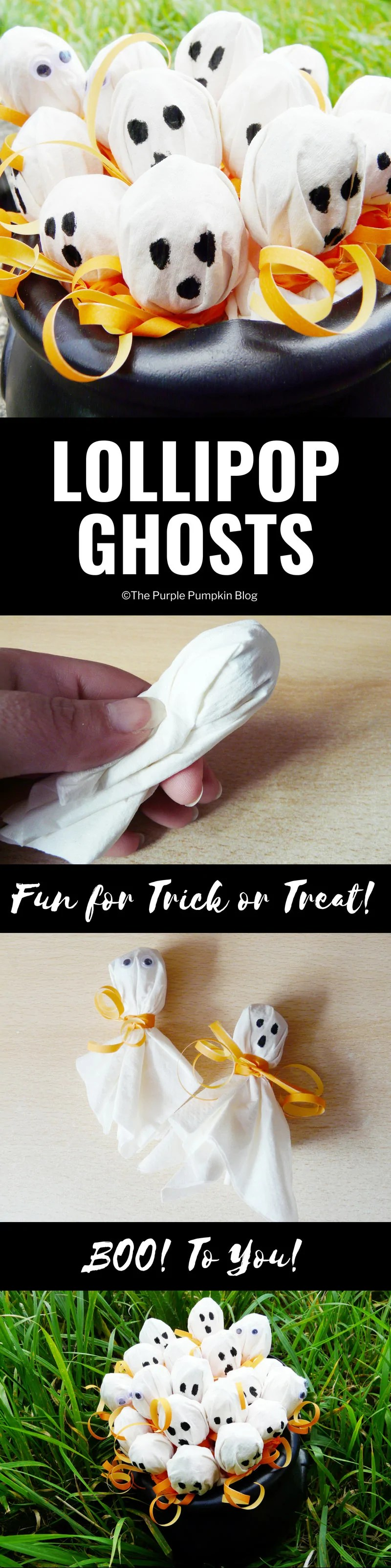 Lollipop Ghosts / Turn lollipops/suckers into cute little ghosts for Trick or Treaters! All you need are some white napkins, ribbon and a black marker pen! And of course the candy!