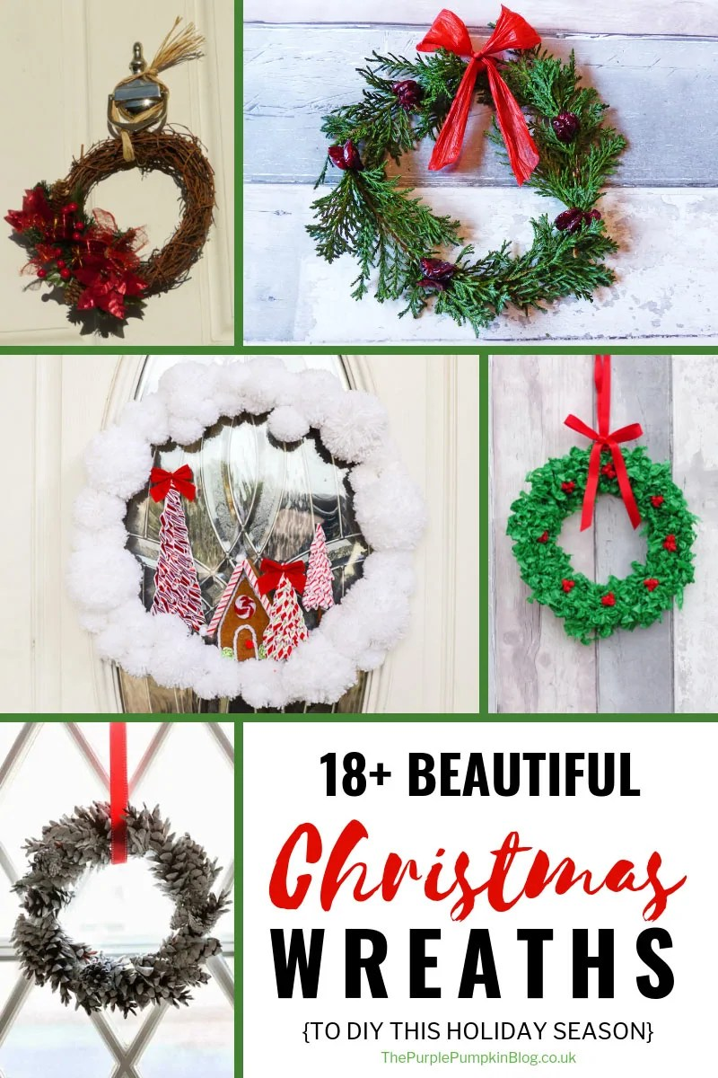 18+ Beautiful Christmas Wreaths to DIY this holiday season. Christmas wreaths are a great way to beautify the entrance to your home, welcoming guests, and setting a festive feel before even stepping through the door. This article has lots of wreaths that you can make yourself variety of different materials, and at varying skill levels. #ChristmasWreaths #ChristmasCrafts