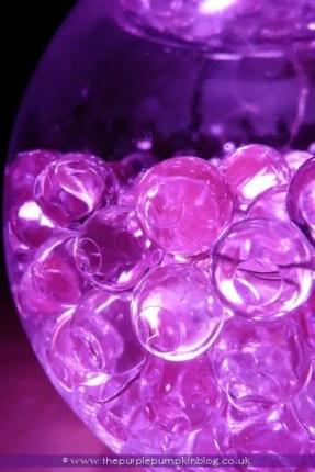 Bowls of Light - using aqua gel beads + submersible LED lights
