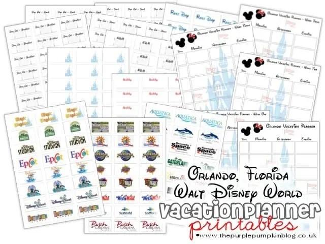 Orlando Florida Walt Disney World Vacation Planner Free Printable