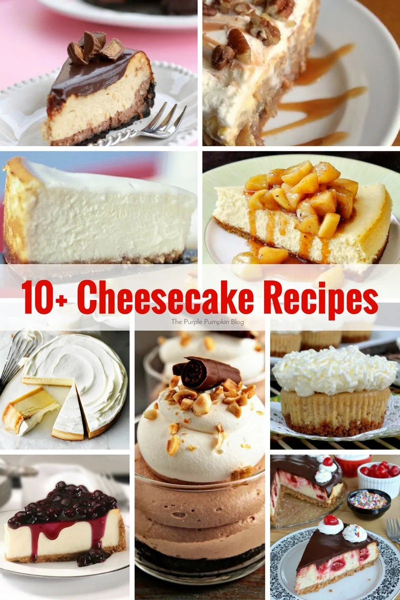 10 Cheesecake Recipes - a yummy mix of different cheesecakes - baked and no-baked, with different toppings and fillings!