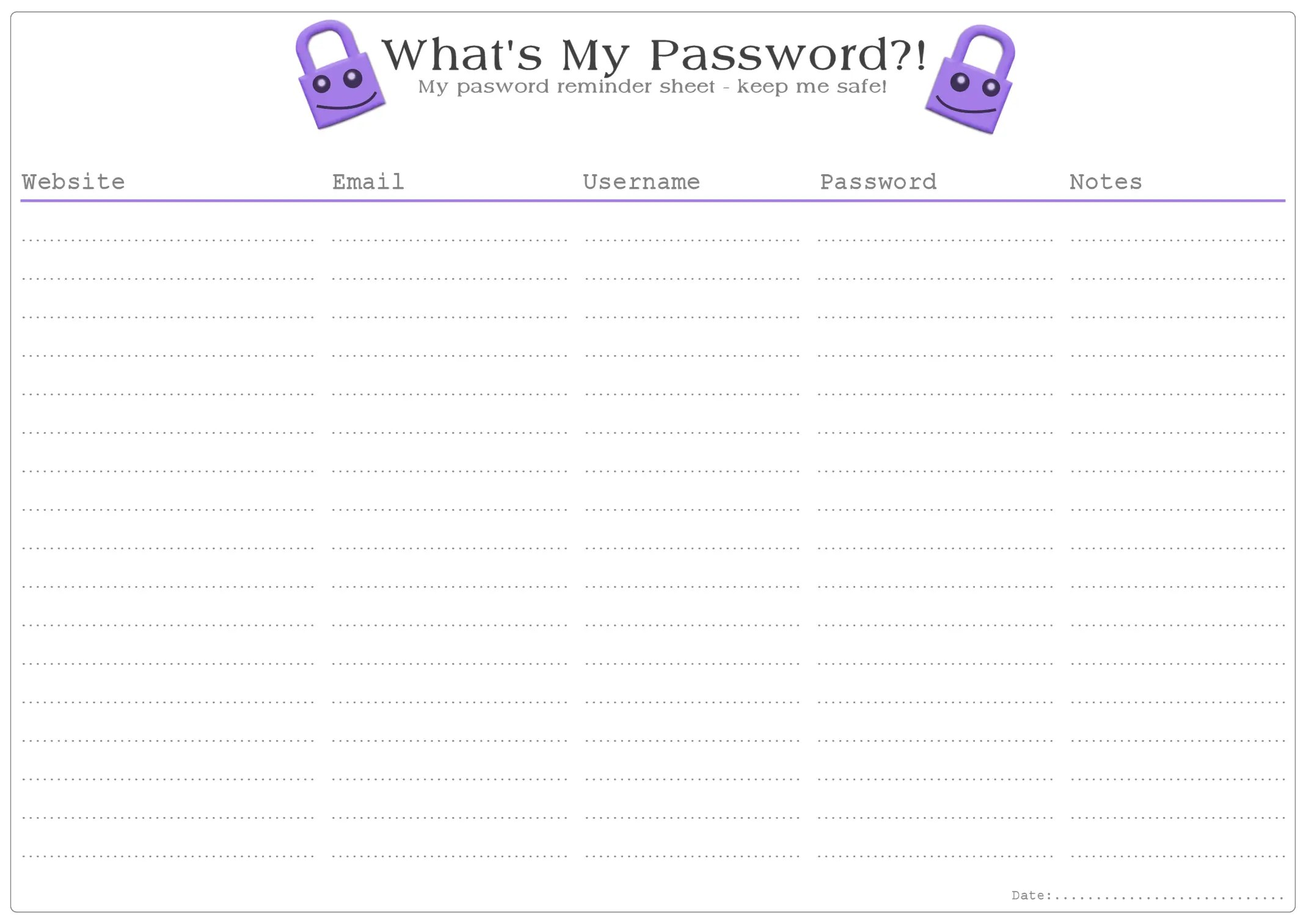 graphic regarding Password Printable identified as Whats My Pword?! Reminder Sheet - No cost Printable