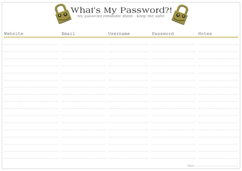 Password Remind Free Printable - Yellow