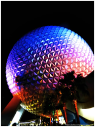 Epcot Spaceship Earth at Night
