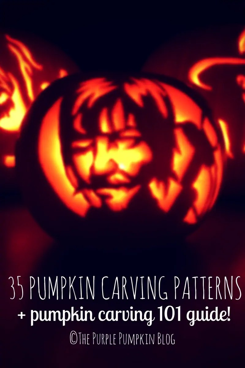35 Pumpkin Carving Patterns and Pumpkin Carving 101 Guide This is a MUST PIN for creating awesome pumpkin carvings at Halloween!