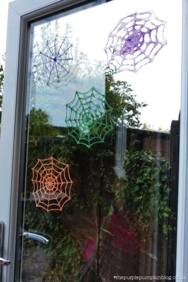 How To Make Glitter Glue Spider Web Halloween Decorations