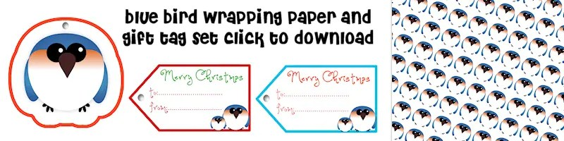 Bluebird Free Printable Wrapping Paper and Gift Tag Set Free Printable Download