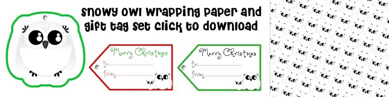 Snowy Owl Free Printable Wrapping Paper and Gift Tag Set Free Printable Download