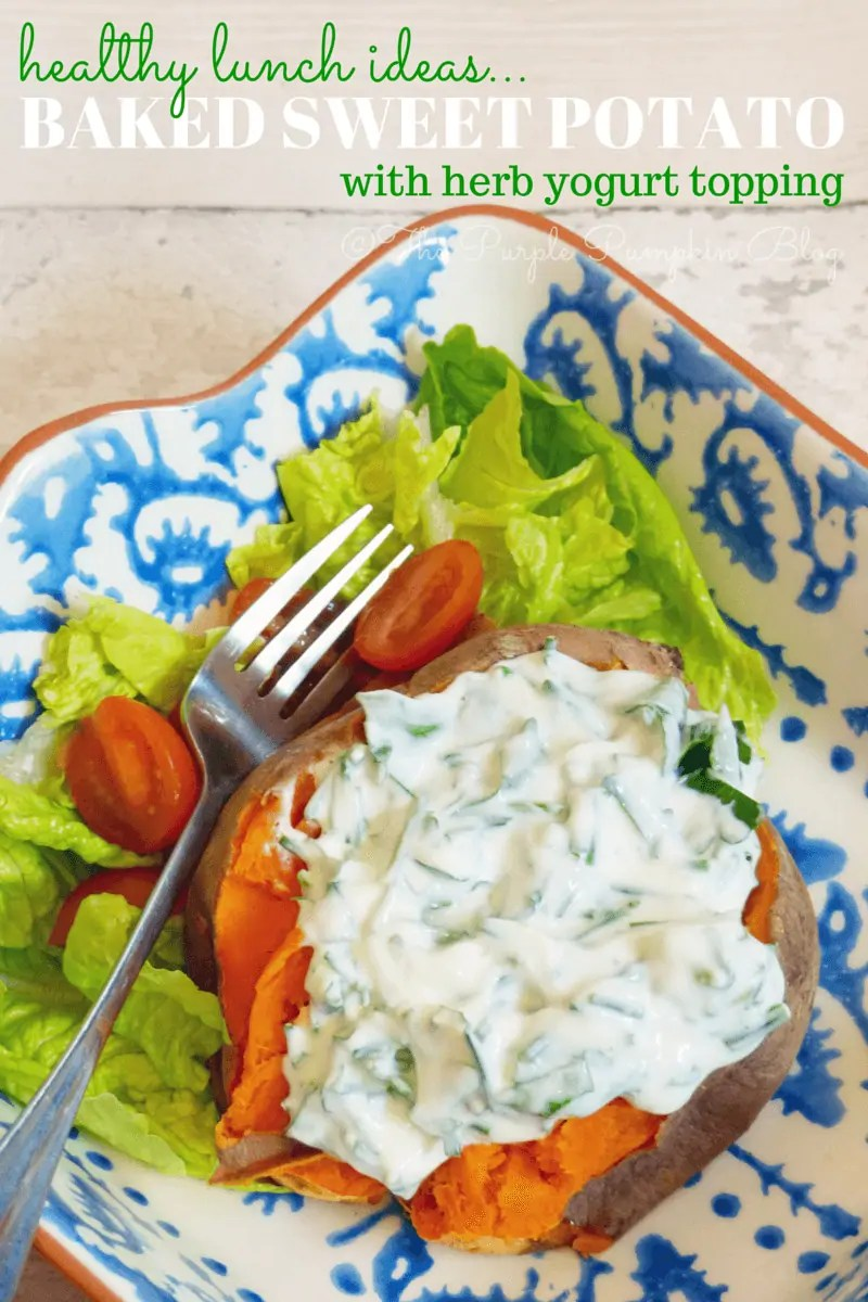 Baked Sweet Potato with Herb Yoghurt Topping