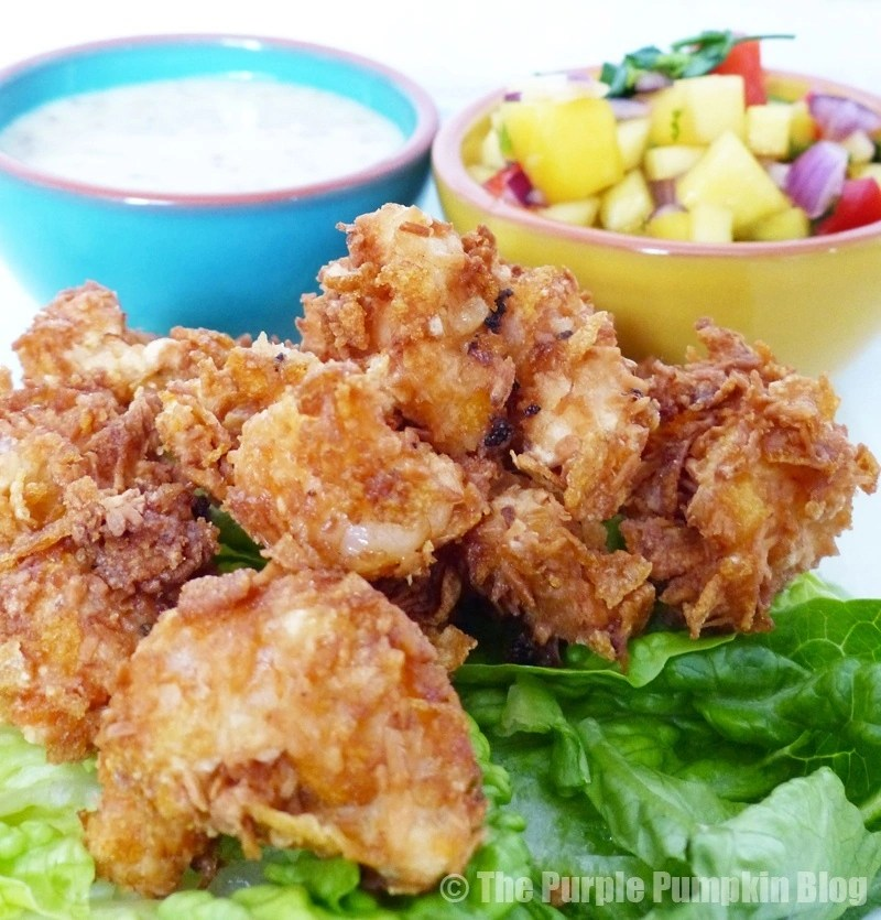 Cornflake and Coconut Shrimp with Citrus Mustard Dip and Mango Salsa