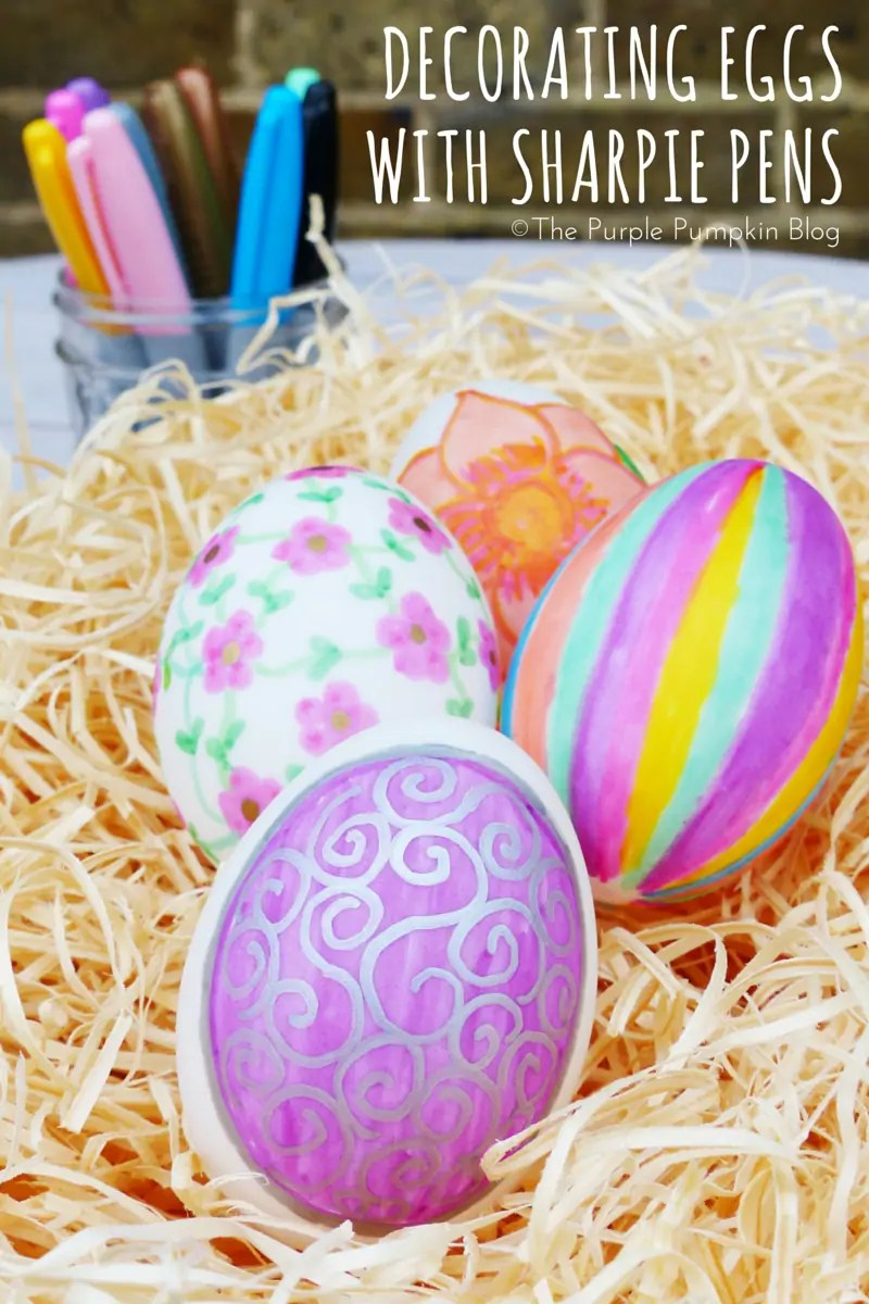 Decorating eggs with Sharpie pens is really fun + addictive! You can be as creative (or not so creative) as you like! Great Easter craft for kids + adults!