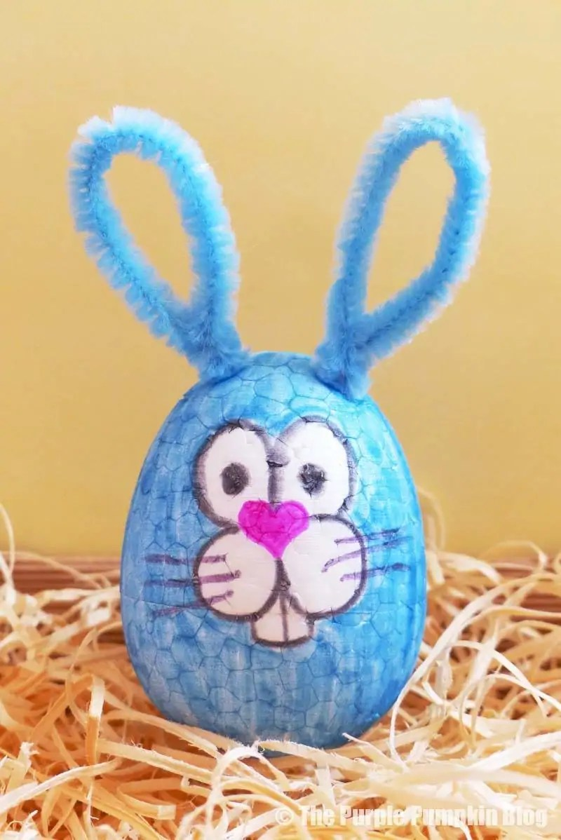 Make this fun Easter Egg Animals Craft (bunny rabbit) using foam eggs, markers and other craft embellishments. An awesome Easter activity for kids! #EasterEggAnimals #EasterCrafts #KidsCrafts #ThePurplePumpkinBlog