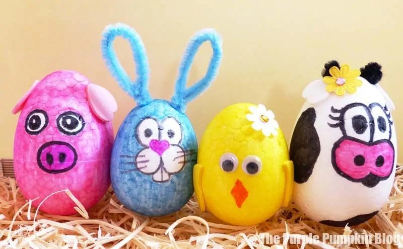 Egg Animals Craft - Pig Bunny Chick Cow